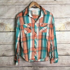 True Religion flannel long sleeved button up